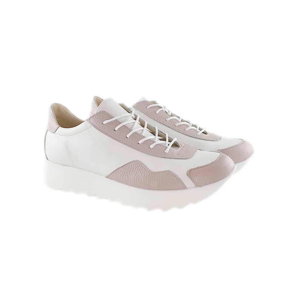 Pantofi sport din piele naturala alb-nude Ariana