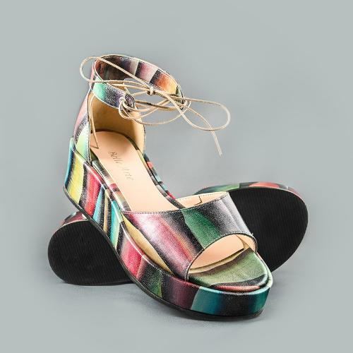 Sandale din piele naturala multicolora Blanca