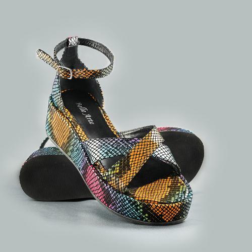 Sandale din piele naturala cu imprimeu sarpe color Linda