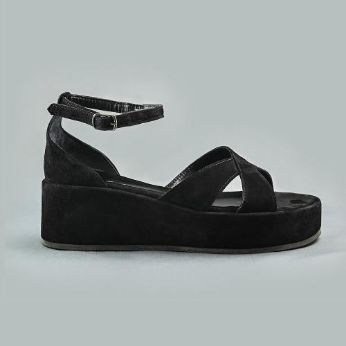 Sandale din piele intoarsa neagra Linda