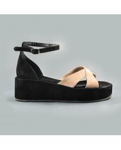 Sandale din piele intoarsa nude-negru Linda