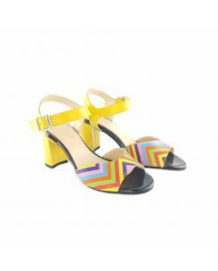 Sandale din piele galben si color Ivona