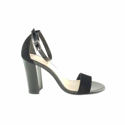 Sandale din piele intoarsa neagra cu lac Irenne