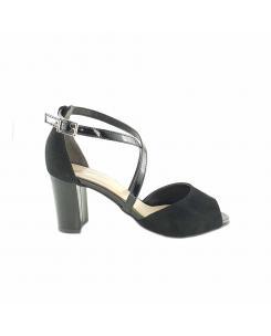 Sandale din piele intoarsa neagra cu lac Nicolle