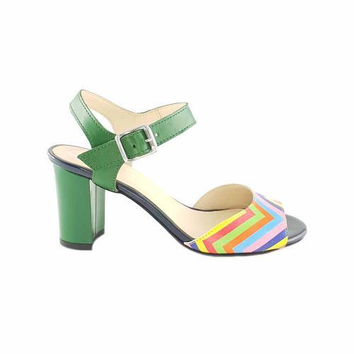 Sandale din piele verde si color Ivona
